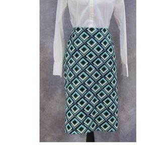 NEW Kasper Blue Aqua Geometric Skirt Size 14